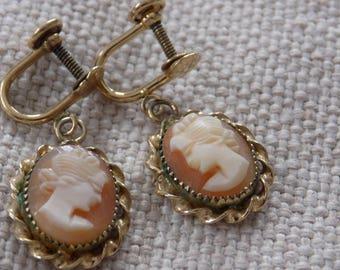 Vintage earrings, shell cameos, cameo earrings, 12 K GF earrings, screw back earrings, antique jewelry,  drop earrings