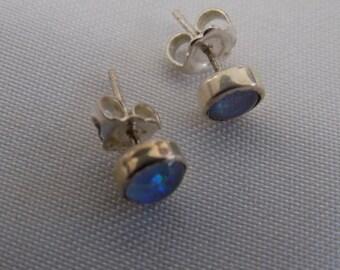 Vintage earrings, iridescent opal stud earrings, feminine earrings, elegant jewelry