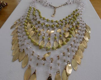 Vintage necklace, signed R.J.Graziano lime green and opaque white beads six strand statement necklace