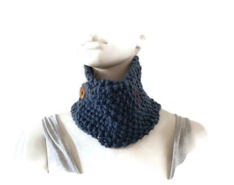 Knit Chunky Cowl, Cowl with buttons, Cowl Neck Scarf, Womens Cowl, Knit Cowl with Buttons