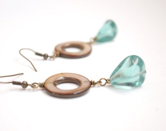 Mother of Pearl Earrings, Hoop Earrings, Blue Glass Bead Jewelry