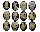 1dz skull cameo bulk 40x30 Gothic cameos Zombie Day of the Dead punk vampire Lolita Fairy Owl Halloween wedding molded resin cabochons 818x
