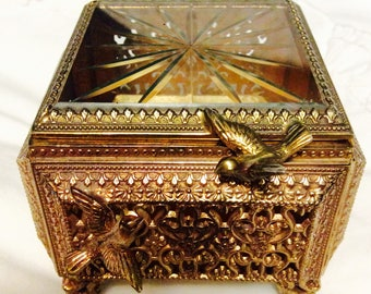 Filigree Ormolu with Birds Jewelry Box Gold Casket Etched Beveled Glass Box Footed