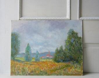 """Vintage Impressionist Landscape Painting - Unframed Original Art 14"""" x 18"""""""