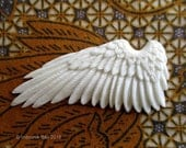 Reserved - Spread Your Wings Carved Bone Cabochon 62mm