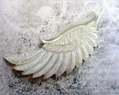 Uplifting Carved Mother Of Pearl Shell Wing Pendant Bead 60mm White