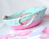 Pink Gift Basket, Lovely Ring Basket, Handmade  Bowl, Candy Dish, Key Holder, Catchall
