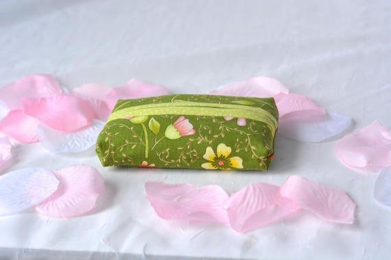 Kleenex Pocket Tissue Holder, Handmade Travel Tissue Case, Lovely Party Favor, Green Purse Pouch, Spring Greenery Easter Basket Filler