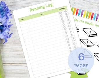 Summer Reading Log with Incentive Page for Kids, printable
