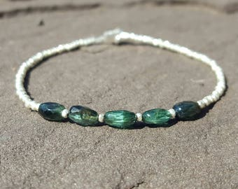 Blue Tourmaline Bracelet Indicolite Tourmaline Bracelets Womens Beaded Bracelets October Birthstone Jewelry Green Tourmaline Bead Bracelet