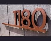 CUSTOM Modernist Underline House Number Sign in Powder Coated Aluminum