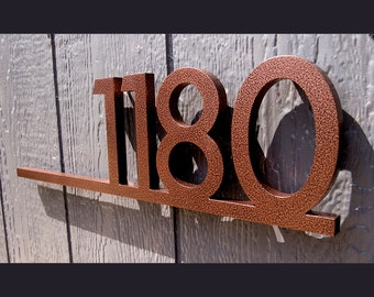 CUSTOM Modernist Underline House Number Sign in Powder Coated Aluminum