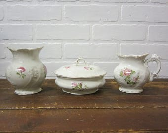Gorgeous Vintage Pink Rose Floral Etruria Mellor & Co. Ironstone Farmhouse Bathroom Set Powder Bowl Small Pitcher