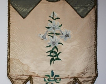 Vintage Odd Fellows Hand Painted Banner -Lillies