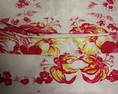 RESERVED FOR MARY - Vintage Tablecloth Floral Pink Red Yellow Floral Mid Century Retro Shabby Cottage Chic Farm Decor