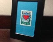 custom order - Marcia - framed postage stamp art - love