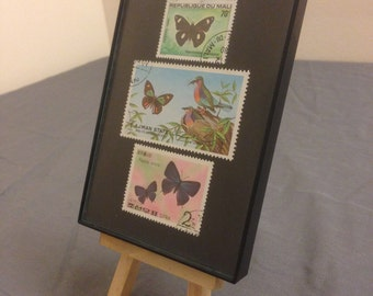 """Butterfly - Recycled Postage Stamp Framed Art 3.5""""x5"""", butterflies, birds, mariposa, butterfly stamps, sister gift, grandma gift, mom gift"""