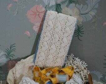 Vintage Off-White Cotton Lace Trim 6 Yards