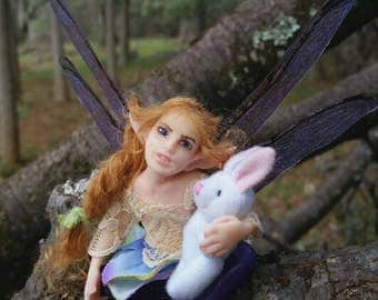 MidDreamers Ooak Childfairy Tabitha and her bunny
