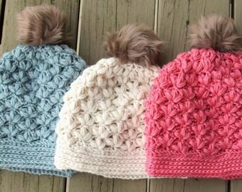 Crochet Beanie Pattern, Crochet Hat Pattern, Crochet Slouchy Hat Pattern, Textured hat crochet pattern, Puff Stitch Hat Crochet Pattern