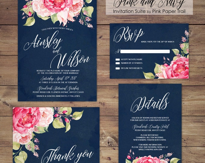 Floral Wedding Invitation Suite, Printable Wedding Invitation, Pink and Navy Blue, Spring, Summer, DIY Wedding, Print Your Own