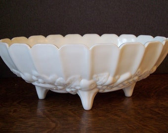 Vintage Milk Glass Oval Compote Fruit Bowl Centerpiece Indiana Glass