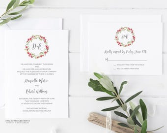 Custom Watercolor Wreath Wedding Invitations, Floral Wreath Wedding Invites, Rustic Chic Watercolor Flowers and Greenery