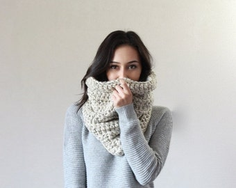 End of season SALE Large Chunky Cowl Thermal Textured Scarf Shawl Hood, snood infinity scarf // The Chartres - OATMEAL