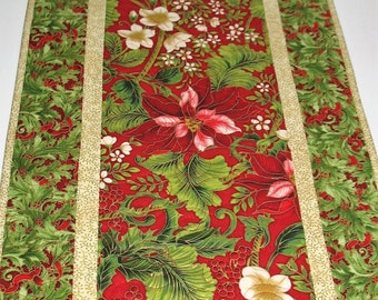 Christmas Table Runner,  Poinsettias, quilted, fabric  from Holiday Flourish