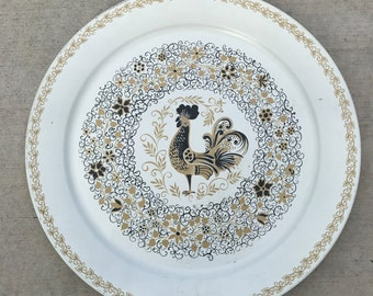 "Vintage PA Dutch Folk Art Toleware Tray Rooster 19"" Serving Platter Decoration"