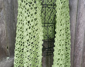Green Crochet Shawl, wrap, bridal shawl, gift for her, wedding gift, pashmina, summer scarf, cowl, shawl, summer wrap, ready to ship shawl