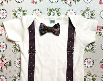 Maroon Chambray Polka Dot Suspenders and Bowtie BabySuit // Snap on Bow // Baby Boy Onesie