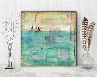 "Mixed Media Original, 12x12"" Abstract Art, Original Art, Sailing Sailboat Art, Ocean Painting, Sea Painting, aqua, purple, turquoise, ""Sail"""