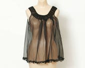 Vintage 50s Sheer Chiffon BabyDoll / Night Gown / 50s lingerie / 60s lingerie / Teddies / nighty / vintage babydoll / 1950s / pinup / 1960s