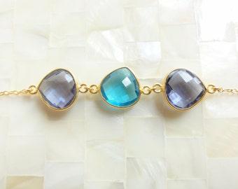 Step-Cut Faceted Blue Quartz and Iolite Quartz Triple Vermeil Bezel Connectors on Gold Chain Bracelet (B1227)