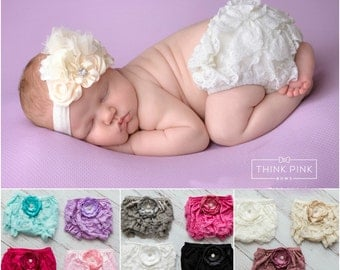 Lace Diaper Cover - Baby Lace Bloomer Set Newborn Headband and Bloomers Newborn Photo Outfit Cake smash outfit-Newborn Bloomers headband