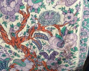 Cotton scarf birds Nest tree basket squirrel/spring motif lavender India