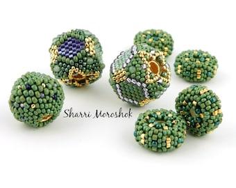 Sale - Reduced 30% - Beaded Beads set of 7 - by Sharri Moroshok - purple green gold