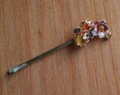 Autumn Flowers Vintage Repurposed Rhinestone Hair Pins