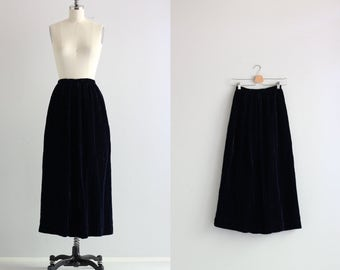1940s 40s Skirt . Navy Blue Velvet Skirt . 1940s Maxi Skirt . Holiday Party Skirt