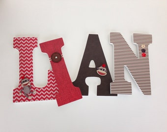 Sock Monkey Wooden Letters in Red & Brown, Alphabet Name Art, Decoupage, Unisex Gender Neutral, Nursery Name Décor, Wood Wall Decorations