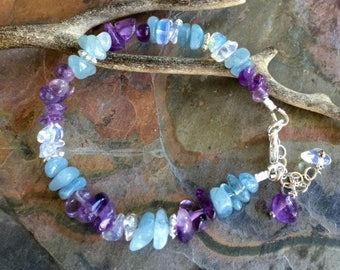 Aquamarine/Amethyst Bracelet, Wire Wrapped Aquamarine/Amethyst Bracelet, March and February  Birthstone Bracelet,Raw Aquamarine gem Bracelet
