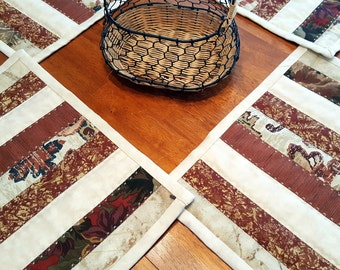 Handmade Quilted Rustic Country Western Patchwork Place Mats or Mini Quilts for your Kitchen, Dining Home Decor Perfect hostess gift