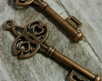 Wholesale Keys Bulk Skeleton Keys  Antique Copper Keys Ornate Keys Skeleton Keys Bulk Keys Wedding Keys 45mm 50 pieces