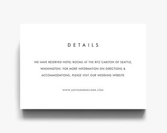 Wedding Details Card, Details Card, Wedding Details, Accommodation Cards, Wedding  Registry Cards