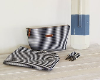 Navy stripe nappy pouch set. nappy pouch, change mat and detachable clips.  Waterproof lining available