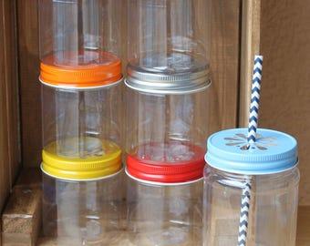 Plastic Mason Jars, 10 Plastic Jars, Mason Jar Cups w/ Daisy Lids, 17oz Wedding Favors, Table Setting, Baby Shower Favors, Kids Plastic Cups