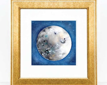 Watercolor Moon Art Print. Full Moon Art. Luna. Watercolor Painting. House Warming Gift under 20.