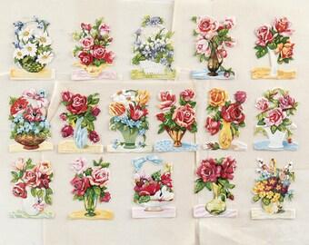 Vintage Scraps - Die Cut Paper Flowers, Roses, Bouquets, 16 Pcs.