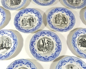 French Divorce Themed Antique Plates Set of 12 Dessert Plates  c.1920